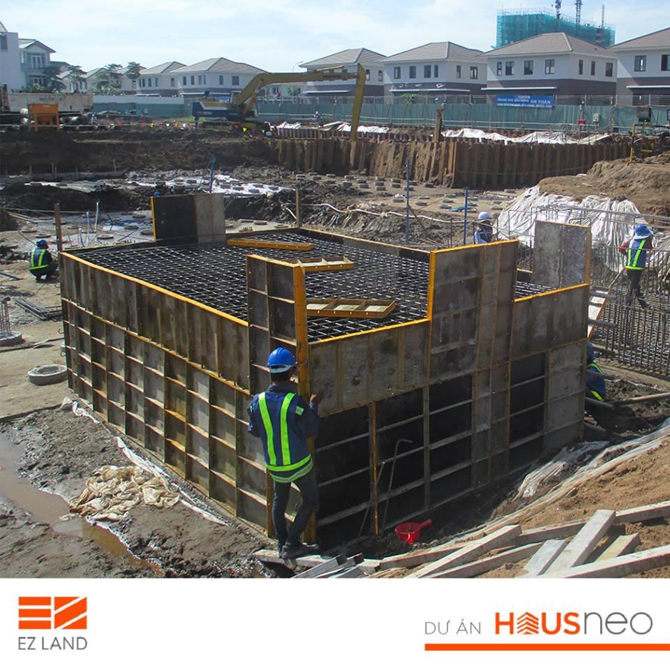 Tiến độ xây móng dự án Hausneo quận 9