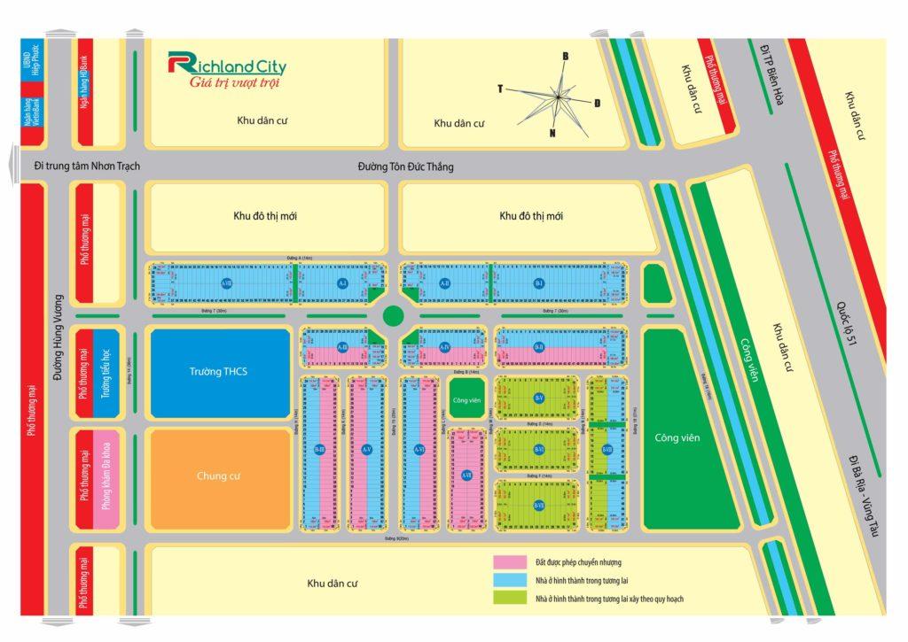 Sơ đồ phân lô Richland city Nhơn Trạch. Tư vấn đầu tư, mua bán đất nền Đồng Nai.