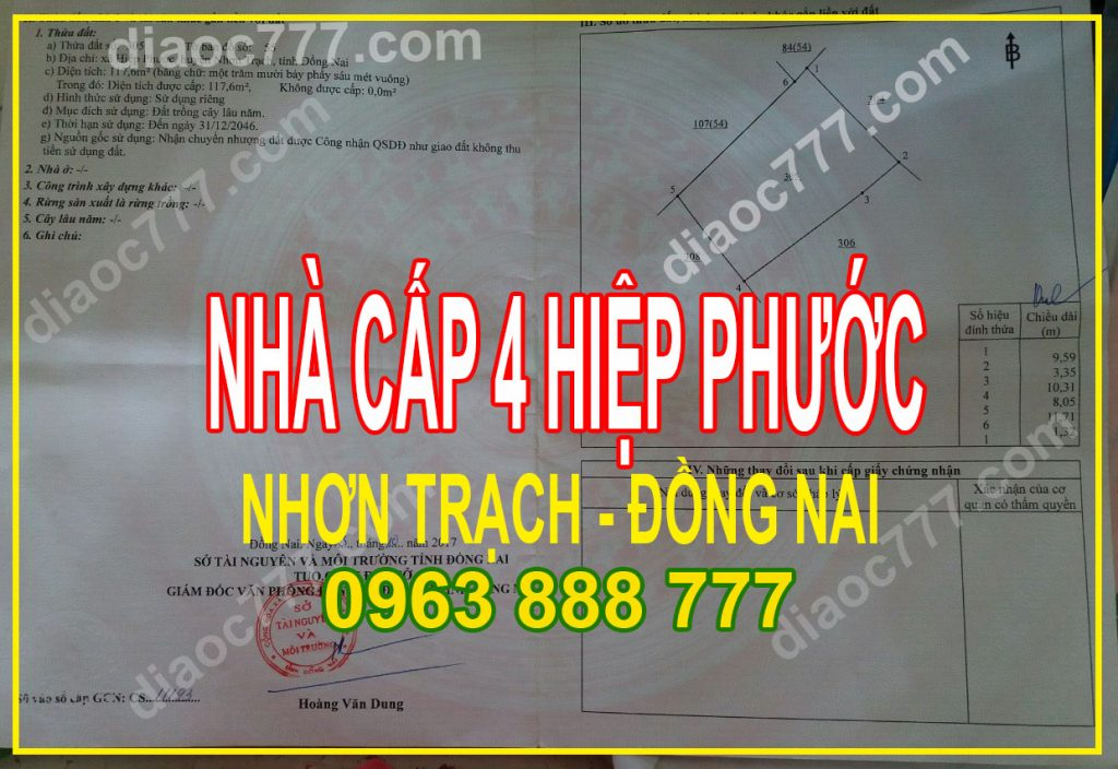 Bán nhà cấp 4 Hiệp Phước, Nhơn Trạch, Đồng Nai. Liên hệ: 0963 888 777