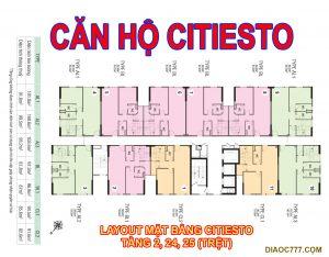 Mặt bằng layout căn hộ Citiesto Kiến Á tầng 2, 24, 25 trệt